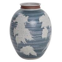 blue and white glazed stoneware vase by victoria littlejohn