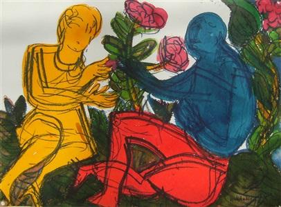 paar in der wiese aus dem aquarellzyklus ortus sanitatis by hap grieshaber