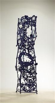 blaues plattenlochsteherkonstrukt by gunter damisch