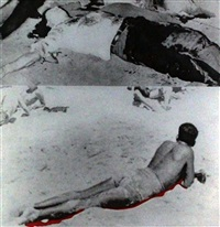 two figures (one with shadow), from the hegel's cellar portfolio by john baldessari