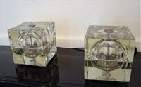paire de lampes « cubosphero » en verre / pair of cubic glass lamps by alessandro mendini