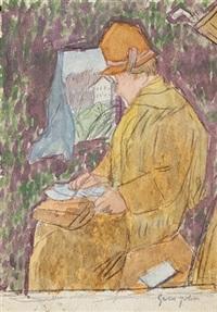 woman in a railway carriage by gwen john