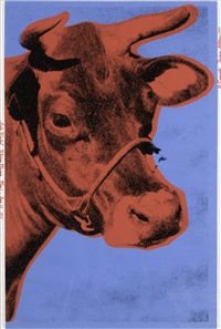 cow (iia blue background) by andy warhol