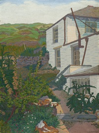 the garden at penally cottage, boscastle by charles ginner