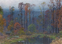 hilltop pond at dusk by john joseph enneking
