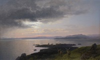 twilight over a lake by hermann herzog