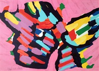 pink cat by karel appel