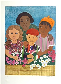 children with flowers by elizabeth catlett