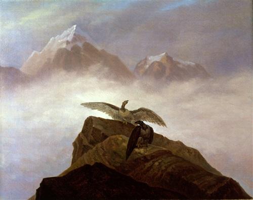 phantasie aus der alpenwelt. adler, die auf einem alpenhorn misten by carl gustav carus