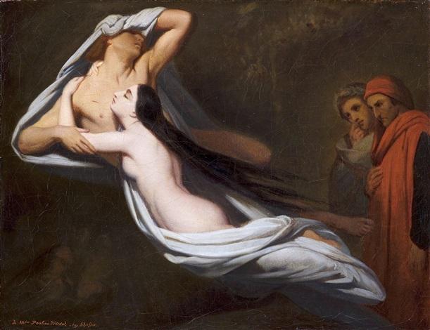 les ombres de francesca da rimini et de paolo malatesta apparaissent à dante et à virgile by ary scheffer