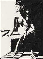 nude in dark room by wayne thiebaud