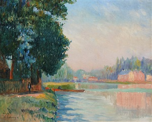 la seine à bougival by albert lebourg