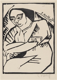 woman with her arms crossed by karl schmidt-rottluff