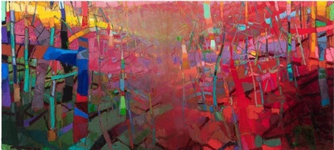 gullyfield 2012 oil on linen 60 x 132 inches