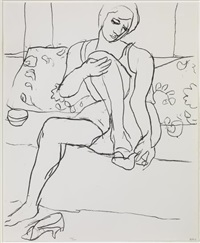 seated woman on sofa by richard diebenkorn