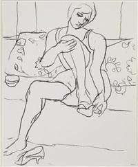 seated woman on sofa by richard diebenkorn