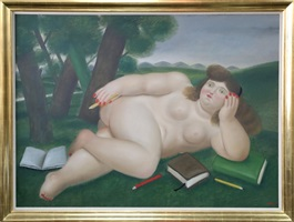 reclining nude with books on pencils on lawn by fernando botero