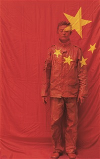hide in the city n°26 - front of the chinese flag by liu bolin
