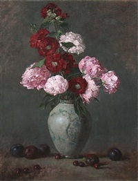 hollyhocks and peonies by joe anna arnett