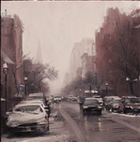 light snow on newbury street by ben aronson