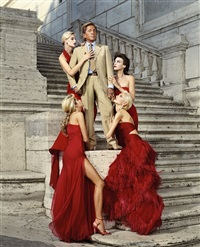 valentino with models. rome by martin schoeller