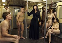 marina abramovic on subway train. new york by martin schoeller