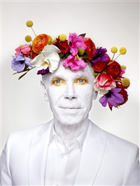 jeff koons with floral headpiece. new york by martin schoeller
