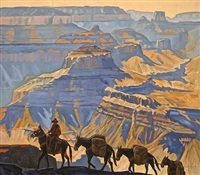 grand canyon pack train by dennis ziemienski
