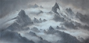 mountains and clouds xiv by wucius wong