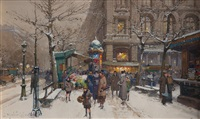 theatre sarah bernard, paris by eugène galien-laloue