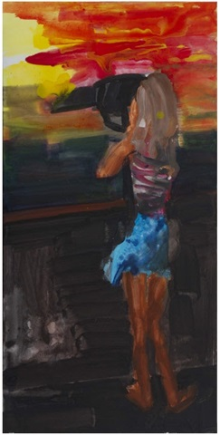girl, fernrohr, sunset by rainer fetting