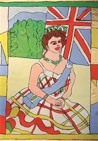 queen in kariertem kleid mit blauer schärpe by josef wittlich