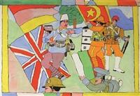 soldaten aus verschiedenen nationen mit fahnen by josef wittlich