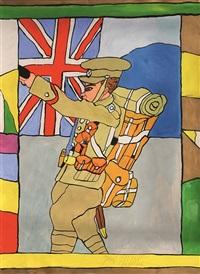 soldat vor britischer flagge by josef wittlich