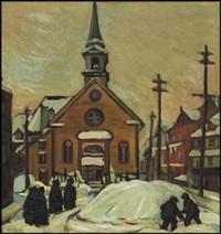 lot # 118: church in winter by kathleen moir morris