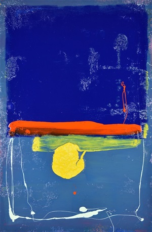 blue square with orange stripe by anthony hunter