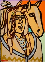 man and yellow horse by america martin