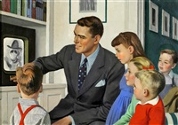 father and children in front of tv by john philip falter