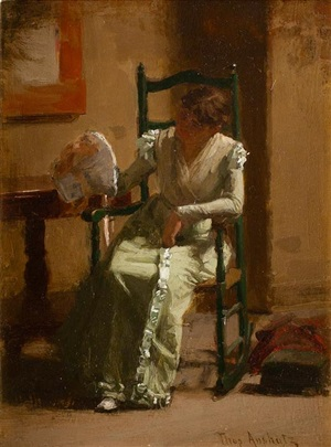 lady with bonnet by thomas anshutz