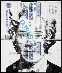 andy warhol on cardboard by mr. brainwash
