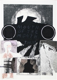 untitled (mouth of the month over chuck close) by ray johnson