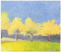 yellow tree row i by wolf kahn