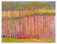 trees against magenta by wolf kahn