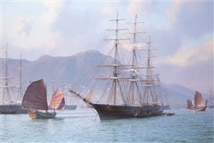 "overhauling sails before the heat of the day, ""sea witch"" hong kong 1849 by john steven dews"