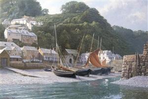 incoming tide: clovelly, north devon 1880 herring fleet by john steven dews