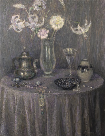 la table : harmonie grise by henri le sidaner