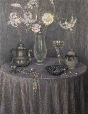la table : harmonie grise by henri le sidaner