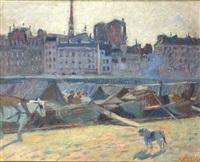 la cité, vue du quai l'hotel de ville by raoul dufy