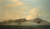indiamen at anchor off saint helena by thomas luny
