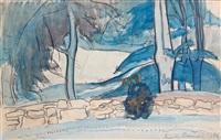 bretonne assise sur un muret by émile bernard